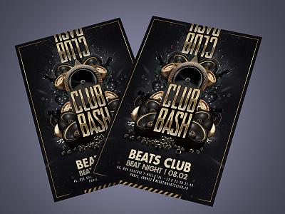 Club Bash Golden Party Flyer print event drink night speaker dj sound flyer party golden bash club