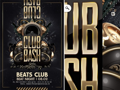 Club Bash Golden Party Flyer print event drink night speaker dj sound flyer party golden bash club