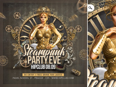 Steampunk Party Club Flyer disguise print dj night special club eve event themed flyer party steampunk