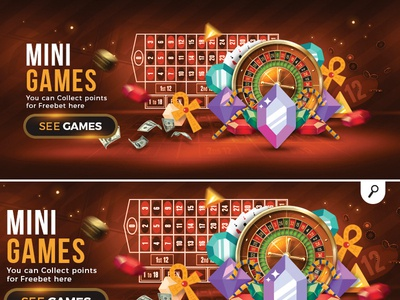 casino gambling mini games banner slot machine roulette bonus prize money collect points freebet player gambling mini game casino