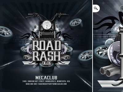Road Rash Biker Party Flyer eve event road dj club themed sound flyer party mechanics biker road rash