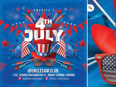 Usa 4th Of July National Day Flyer july 4th stark spangled banner united states of america america usa celebration club party flyer independence day national day 4th of july