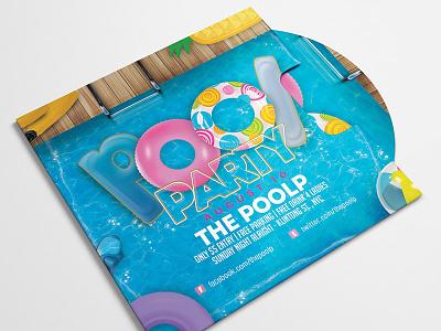 Summer Pool Party Club Flyer club poolside bash print buoy break event seasonal flyer party pool summer