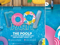 Summer Pool Party Club Flyer club poolside bash print buoy break event seasonal flyer party pool summer