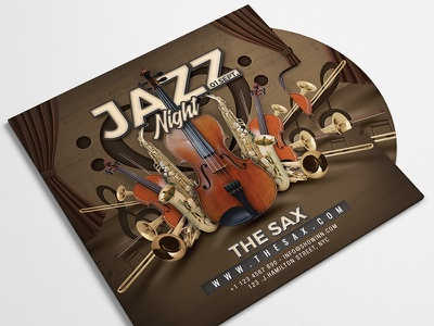 Jazz Music Night Concert Flyer print club party instruments band event themed flyer concert night music jazz
