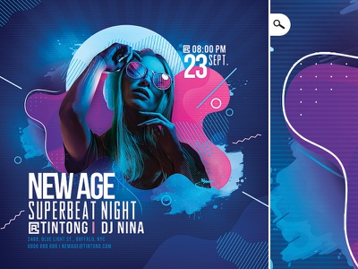 New Age Beat Club Flyer Template music eve event night mix dj template flyer party club beat new age