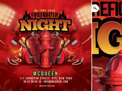 Firefighter Themed Night Flyer event bash fireman costumed disguised videogame party club flyer night themed firefighter