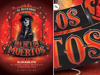 Dia De Los Muertos Club Flyer flyer skull ghost event party club holidays tradition mexico celebration day of the dead dia de los muertos