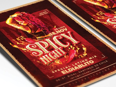Spicy Night Club Party night out mix dj sexy latin flyer party club eve event night spicy