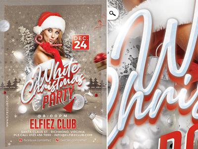 White Christmas Flyer evening event eve club party winter holidays santa claus xmas celebration flyer christmas white
