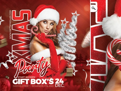 Red Christmas Flyer club party winter holiday boxing day event evening eve night celebration xmas flyer christmas