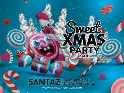 Sweet Xmas Party Flyer fun club celebration winter holidays evening event eve flyer party christmas xmas sweet