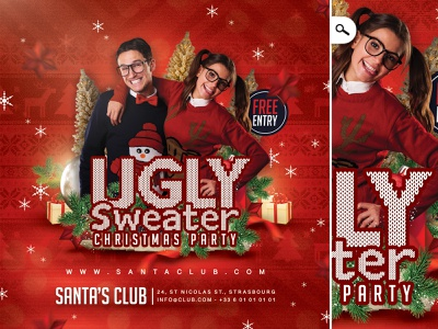 Ugly Sweater Christmas Party Flyer eve event celebration xmas nerds club flyer party winter holidays christmas themed night ugly sweater