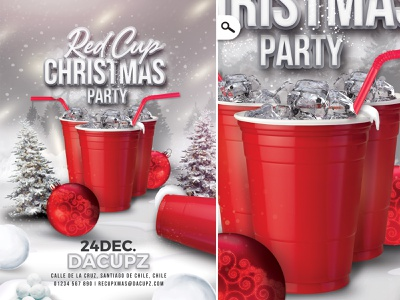 Red Cup Christmas Party Flyer template night out new year winter holidays bash drink celebration flyer party christmas xmas red cup