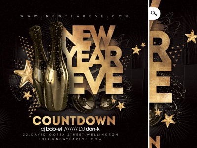 New Year Party Flyer drink winter holidays evening eve event night flyer club party countdown new year nye