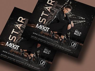 Star Night Flyer drinks event mix dj flyer party club night dance art music star