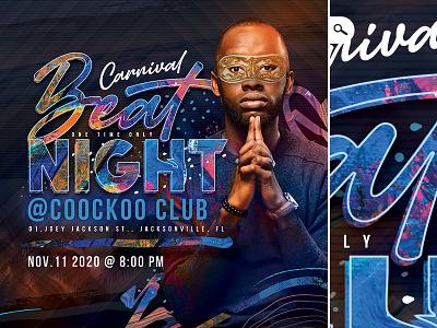 DJ Beat Night Flyer ball costumed mardi gras event themed carnival dance club night flyer beat dj