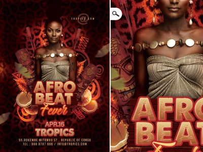 Afro Beat party Flyer sound black fever music club event night flyer beat africa african afro