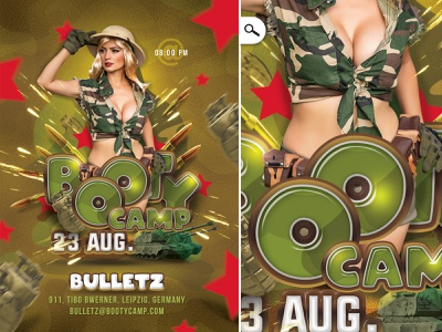 Booty Camp Themed Flyer camo army costumed evening event eve party club flyer themed booty camp booty