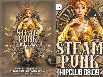 Steampunk Night Flyer Volume 3 print cosplay mask bash costumed themed event eve club flyer night steampunk