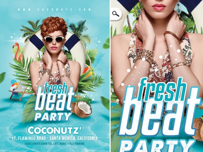 Fresh Beat Party Flyer event bash tropical exotic summer spring club pool flyer party seasonal beat fresh