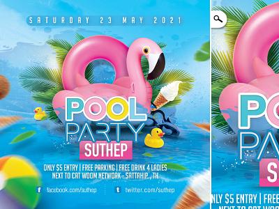 Pool Party Flyer exotic fun seasonal club flyer party spring summer pool