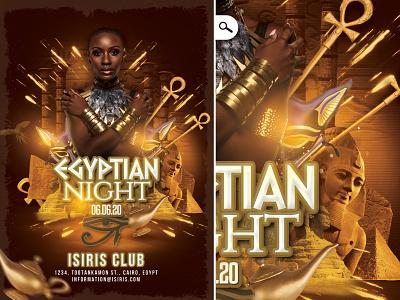 Egyptian Night Flyer costumed oriental pyramid themed evening event eve club flyer night egyptian egypt