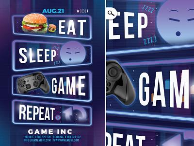 Gaming Life Club Flyer social night joypad player repeat game eat sleep flyer club life gaming