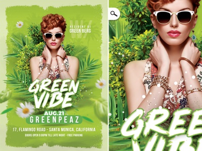 Green Vibe Party Flyer spring summer fresh seasonal night event country club flyer club party vibe green