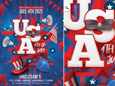 USA 4th Of July Flyer holidays event american party club stark spangled banner us flag national day independence day 4th of july usa