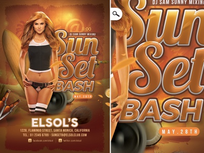 Sunset Night Party Flyer summer seasonal beach surf eve event bash full moon flyer party night sunset