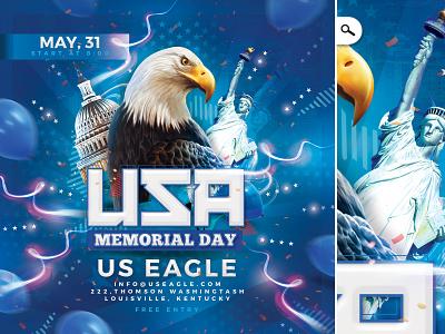 Memorial Day USA Flyer america bash stark spangled banner club united states celebration party commemoration event flyer usa memorial day
