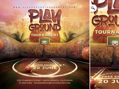 Basketball Playground Tournament Flyer demonstration online event print contest face-to-face amateur pro urban street match flyer video game e-sport competition sport game tournament basketball playground