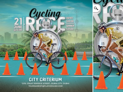 Cycling Race Flyer prize beat the clock cycler show download template amateur professional event bike