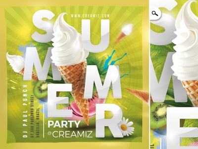 Ice Cream Summer Party Flyer sweet gelato fruit spring tropical exotic bash colorful beach eve event theme print shop ice cream flyer party club seasonal summer