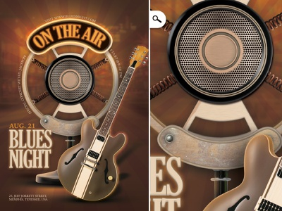 Retro Blues Music Flyer theme usa show guitar song country