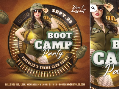Boot Camp Army Themed Flyer cosplay booty party club sexy