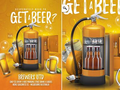 Get Beer Flyer template brewer hops bar
