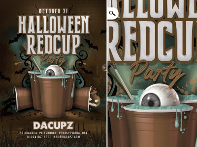 Halloween Red Cup Party Flyer trick or treat