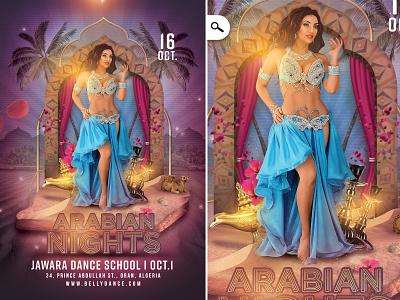 Arabic Nights Belly Dancing Flyer live performance artist shish belly dancer belly dancing dancing school show oriental orient print evening event eve night template flyer arabian arabic arab