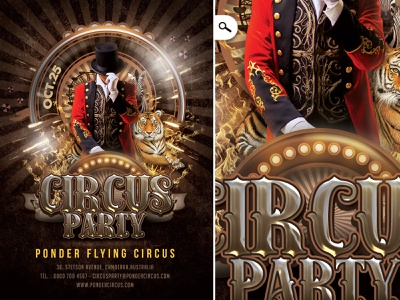 Circus Party Flyer scene tiger ticket entertainment