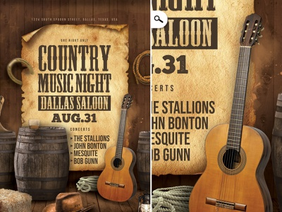 Country Music Saloon Concert Flyer west western cowboy night out night entertainment salmon print evening eve event music united states america usa concert template flyer club country