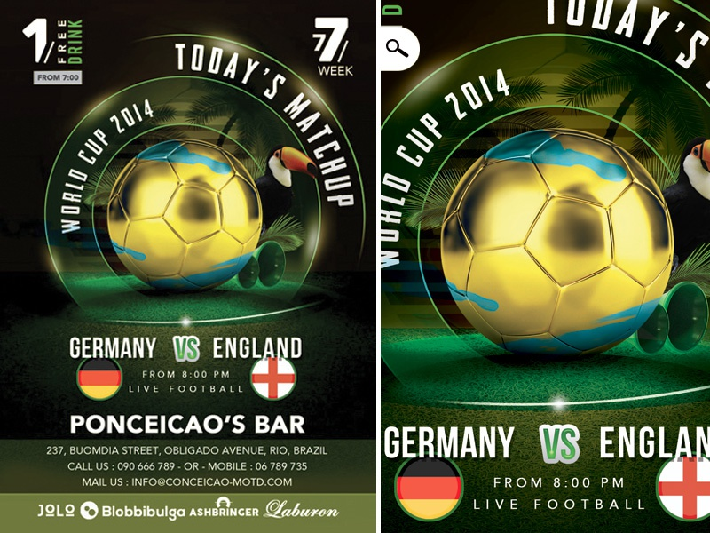 Flyer Soccer Cup Match Of The Day In Brazil Bar by n2n44 on