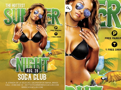Summer Flyer Hottest tropical bottle palm tree colorful bar coconut music cocktail party club summer hot