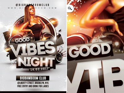 Good Vibes Night template flyer dj sound party jack discoball speaker night club vibes good