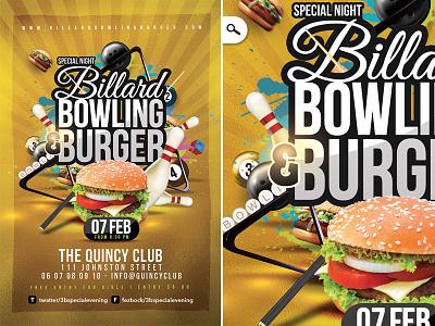 Billiard Bowling Burger event fast food youngsters club party burger bowling billiard