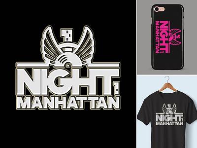 Design Night In Manhattan logo night nightclub advertising merchandising phone case transfer t-shirt tshirt new york manhattan design