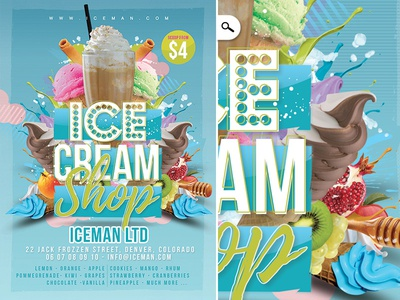 Ice Cream Shop Flyer flavors drink beach sorbet corporate print template sweet flyer summer shop gelato ice cream