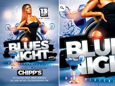 Blues Night Flyer event eve luxury themed mix dj cocktail music party club night blues