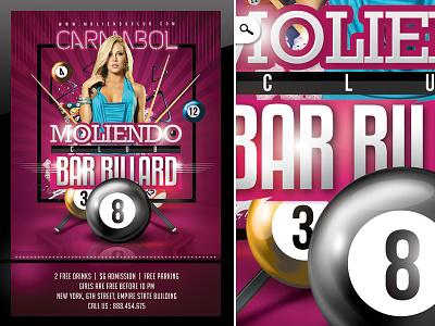 Bar Billard Club ball night template flyer cue party game eight ball 8-ball club pool billiard bar